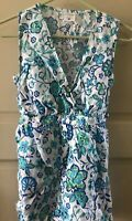 White Blue Wrap Floral Shirt Motherhood Maternity Nursing Shirt Small Tunic