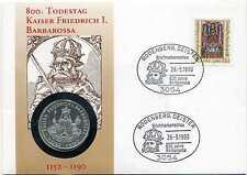 Numisbrief Deutschland 1990 Kaiser Friedrich Barbarossa mit 10 DM Silber N_101