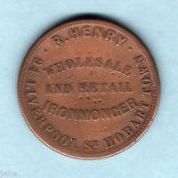 Australia Token.  Henry - c1850s 1d..   Hobart Town, Tasmania.. Fine