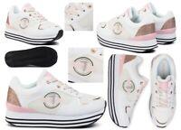 Scarpe da donna sportive Trussardi 00472 sneaker platform comode casual bianche