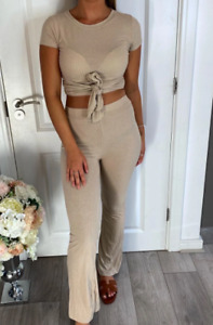 Womens Ladies Ribbed Tie Knot 2 Piece Co-Ord Lounge Wear Set Tracksuit New UK
