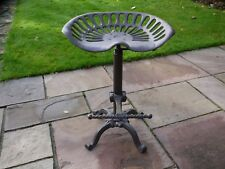 Vintage industrial bar stool Tractor seat cast iron adjustable base