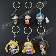 "6pcs Sailor Moon Chibi Moon/Mars/Jupiter 10cm/4"" Key Ring Chain Figure Set Loose"