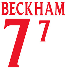 England Beckham 2000 Nameset Shirt Soccer Number Letter Heat Print Football A