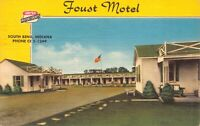 Linen Postcard Foust Motel in South Bend, Indiana~125220