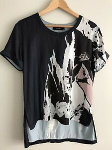 DECJUBA Size M Navy Blue Grey & Pink Tunic Hi-Lo Top Blouse Short Sleeve Summer