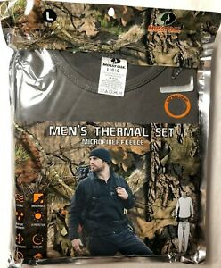 New MOSSY OAK Men's Thermal Set Microfiber Fleece Size Large Gray FREE SHIPPING