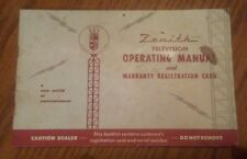Vintage Antique Zenith Television Operating Instructions Manual 1955