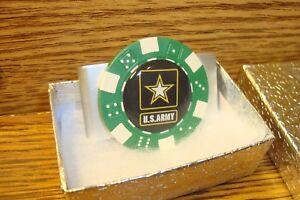 U.S. ARMY STAR Money Clip LOGO Aluminum Poker Chip Dome image   Green/White
