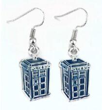 Pair Dr Who Tardis 2D Police Box Silver Tone Small Stud Earrings Ear Rings Hook
