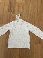 First Impressions 18 Months Baby Girl Toddler Shirt Top Blouse Beige Bow Gold