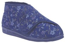 Clearance Comfylux Betty Ladies Super 4e Wide Fit Velcro Floral Slippers Blue UK 7