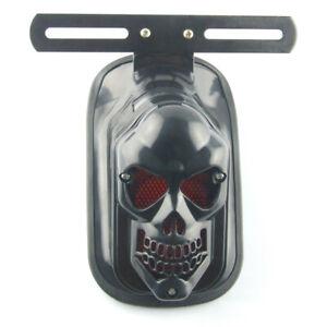 Universal Black Skull Motorcycle Tail Brake Stop Light License Plate Bracket