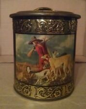 Vintage Tin Metal Canister - Made in Western Germany -Tin with Hunting Scene