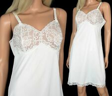 Vintage 60s Aristocraft FULL SLIP White Nylon Lace Bombshell Pinup Hourglass 36
