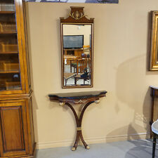 Beautiful Mahogany wall Console with Black marble top Wall Mirror gold accents