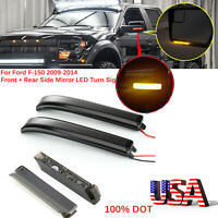 Dynamic Smoked Lens Under Side LED Side Mirror Marker Lights For F-150 2009-2014