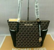 Michael Kors Genuine Leather/Fabric Bedford Large MK Black Logo Print Tote Bag