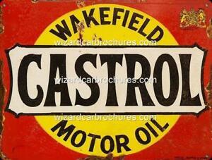 CASTROL WAKEFIELD MOTOR OIL OLD 400mm x 300mm HEAVY STEEL GARAGE SIGN - NOT TIN