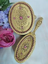 Antique Empire Art Gold E&Jb Vanity Set jeweled Ormolu metal Trinket Box & brush