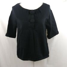Kenar Sweater Black Short Sleeve Peasant Boho large buttons Size Small