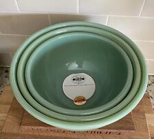 NEW Fire King Jadeite 2000 3 Piece Mixing Bowl Set w/Foil Sticker & Certificates