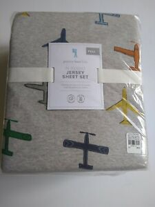 New - Pottery Barn - In Flight - Jersey Sheet Set (Full) Airplane Plane Aviation