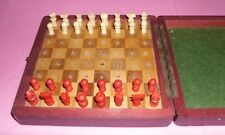 gift small antique retro vintage decorative ornamental travel chess pieces board