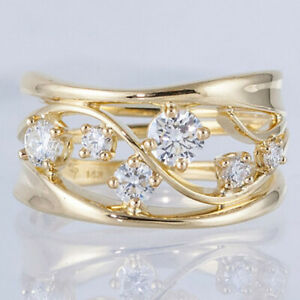 Fashion 18k Gold Rings Women Wedding White Sapphire Jewelry Gift Size 9