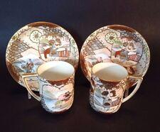Royal Satsuma - 2 Demitasse Cups And Saucers -Imari With Children - Nippon Japan