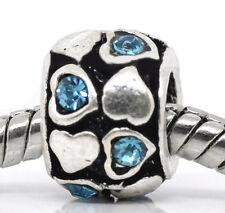 Blue Rhinestone Heart December Birthstone Spacer Bead for Euro Charm Bracelet