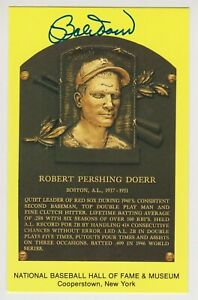 Bobby Doerr Autographed Yellow Hall of Fame Plaque Card