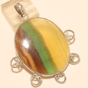 Natural Mexican Fluorite Pendant 925 Sterling Silver Handmade Fine Jewelry Gifts