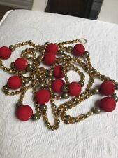 "Vintage Christmas Mercury Glass Gold Beads W/ red Styrofoam Balls Garland 100"""