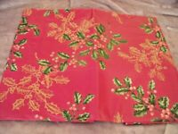 "NEW Holiday HOLLY & BERRIES TABLECLOTH Red Gold 52"" X 70"" CHRISTMAS Decor"