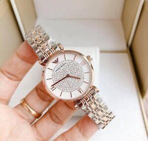 ••• Emporio Armani AR1926 Damenuhr Silber Gold Farbe Kristall Analog 32mm Neu ••