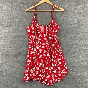 Dotti Womens Playsuit Size 12 Red Floral Sleeveless Linen Blend Zip 190.29