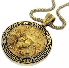 Medusa Head 24k Gold Plated Pendant &amp Hiphop Bling Chain