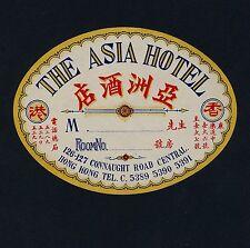 The Asia Hotel HONG KONG Hongkong Asia * Old Luggage Label Kofferaufkleber
