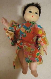 "Vintage 6"" gofin-composition oriental baby in kimono - glass eyes -  clean EC"