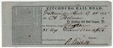 1855 FITCHBURG RAILROAD Receipt CHARLESTOWN Massachusetts TRAIN RR Railroad