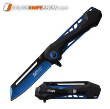 MTECH USA Blue Cleaver Spring Assisted Blade Tactical Folding Pocket Knife TANTO