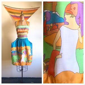 FRENCH RIVIERA 1960's 1970's 60s 70s Vintage Novelty Print Sundress Dress Set S