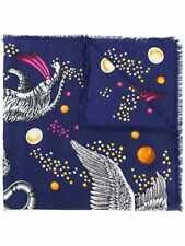 New Gucci Space Animal Print Silk Scarf 130 x 130cm Wool Blue