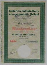 Nouvelle annonce ACTION DE 100 FRANCS, HUILERIE ANTONIN ROUX SAVONNERIE JB PAUL, MARSEILLE 1963