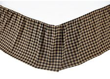 BLACK CHECK Twin Queen King BEDSKIRT : COUNTRY TAN WESTERN RUFFLE BED SKIRT