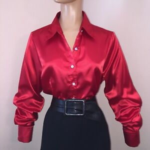 L ULTRA SHINY Red LIQUID SATIN Fitted BLOUSE Rhinestone Buttons NEW Vintage Stl