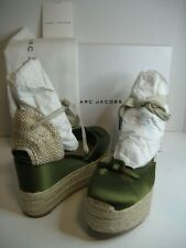 NEW Women Marc Jacobs EU 37 US 6.5 Olive Satin Espadrille Ankle Wrap Ties Shoes