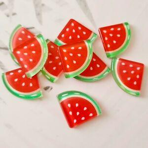 Pack of 10 Glitter Watermelon Flatbacks, Resins for Bow Making, Embellishment