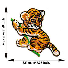 Baby Tiger Animal Zoo Wild Tree Cartoon Kids Applique Iron on Patch Sew
